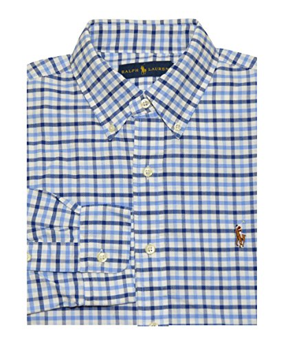 Ralph Lauren Men's Checkered Oxford Shirt (Medium, Steel Blue) (Ralph Lauren Men Clothing compare prices)