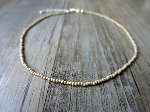 Bohemian Glass Necklace (Tan beaded choker necklace - Nude bead choker - Dainty subtle glass bead choker - Minimalist choker - Barely there necklace)