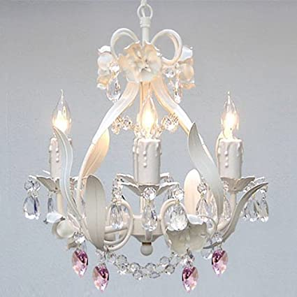 WHITE IRON CRYSTAL FLOWER CHANDELIER LIGHTING W/PINK CRYSTAL HEARTS ...