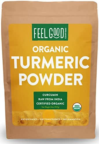 Organic Turmeric Root Powder - 32oz Resealable Bag (2lbs) - 100% Raw w/Curcumin From India - by Feel Good Organics