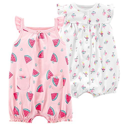 Carter's Baby Girls' 2-Pack Romper, Watermelon/Ice Cream, 24 -