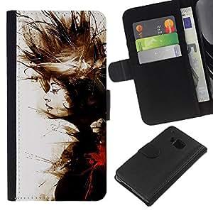 A-type (Watercolor Painting Deep Meaning) Colorida Impresión Funda Cuero Monedero Caja Bolsa Cubierta Caja Piel Card Slots Para HTC One M7