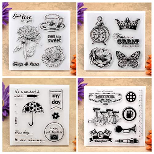 (Kwan Crafts 4 Sheets Different Style Flowers Send Love to You Clock Crown Motor Clear Stamps for Card Making Decoration and DIY Scrapbooking)