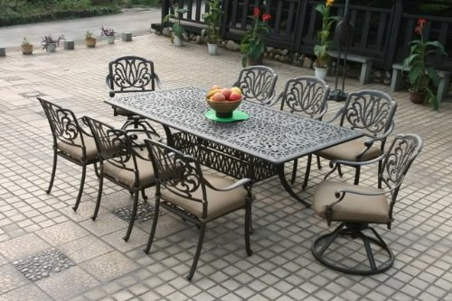 - Heritage Outdoor Living Elisabeth Cast Aluminum 9pc Patio Dining Set with 44