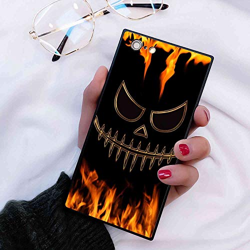 Phone Case Compatible for Apple iPhone 8 (2017) iPhone 7 (2016) 4.7-Inch Halloween Fire Face Pumpkin Jack O Lantern Scary Horror Spooky Flames Diablo The -