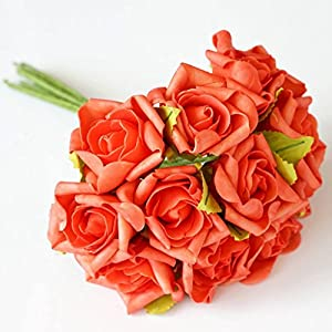 BalsaCircle 72 Silk Blooming Rose Bouquets - 6 Bushes - Artificial Flowers Wedding Party Centerpieces Arrangements Bouquets Supplies 34