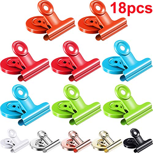 Pangda 18 Pieces Magnetic Clips Fridge Magnet Hook Clips Mini Metal Magnetic Clips 9 Colors for Photo Displays, Holding Documents, Office Organizing