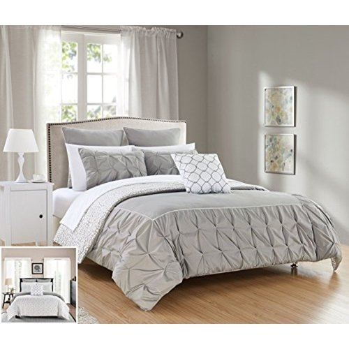 Chic Home 10 Piece Assent Ruffled pinch pleat border with piping detail, REVERSIBLE contemporary printed pattern King Bed In a Bag Comforter Set Grey