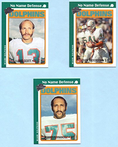 Jake Scott, Manny Fernandez, Dick Anderson 2004 Topps All Time Fan Favorites No Name Defense 3 Card Set - Miami Dolphins
