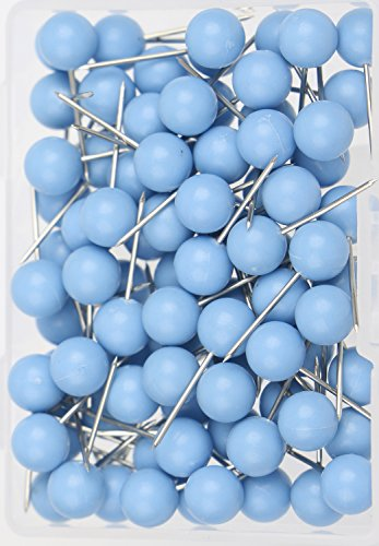 ap Tacks Push Pins 1/4 Inch Diameter Plastic Round Head and Steel Needle Points,Used for Marking Variety DIY Craft Office and Home on Map,Bulletin Board or Cork boards(Blue) ()