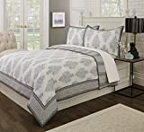 Brooklyn Flat Bagru Reversible Quilt, Twin, Grey