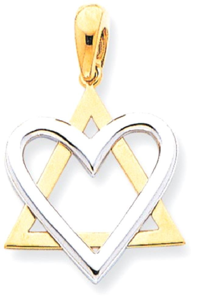 ICE CARATS 14k Two Tone Yellow Gold Pendant Charm Necklace Religious Judaica Fine Jewelry Gift Set For Women Heart