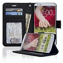 LG G2 Folio PU Leather Wallet Case - Navor (Black)