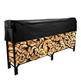 8' Firewood Log Rack Large Wood Storage Holder With Cover Heavy Duty Metal Rack