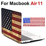 MacBook Air 11 Inch Case - iZi Way [Star-Spangled Banner] Retro American Flag Image Polycarbonate Hard Shell Case + USA Flag Keyboard Skin Cover for Apple MacBook Air 11.6 (Fit Model: A1370 / A1465)