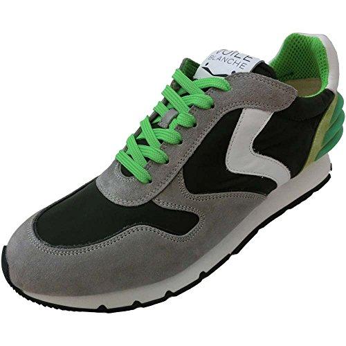 Voile Blanche Scarpe Uomo 2851 Grigio Liam Power - Sneaker camoscio-Tela Grigio-Verdone-Bianco (Velour/Nylon)