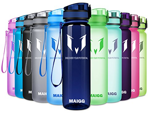 MAIGG Best Sports Water Bottle - 17oz & 32oz - Eco Friendly & BPA-Free Plastic - Fast Water Flow, Flip Top, Opens With 1-Click - Reusable with Leak-proof Lid (Smooth Blue, 1000ml-32oz)