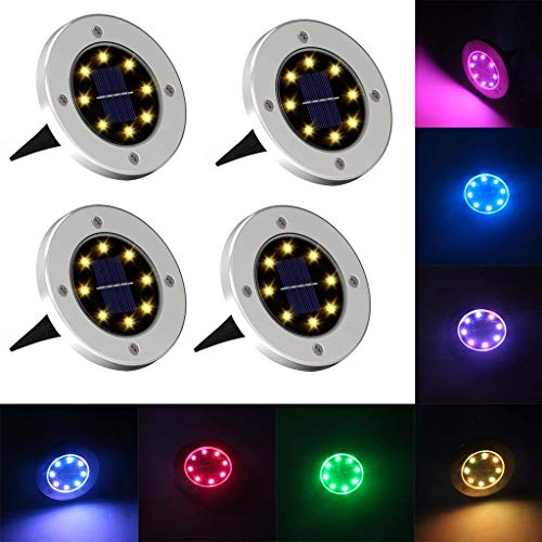 Aliturtle 4Pcs Garden Lawn Outdoor Path Waterproof Lamps Spot Solar Powered Light with 8 LED, IP67 Waterproof Level, 10 Hours Working Time, Yard Night Light Road Landscape Lights (Bright Garden Furniture Coloured)