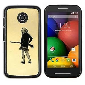 """For Motorola Motorola Moto E / XT1021 / XT1022 Case , Chica pistola Art Dibujo mini falda lápiz Shoot"""" - Diseño Patrón Teléfono Caso Cubierta Case Bumper Duro Protección Case Cover Funda"""