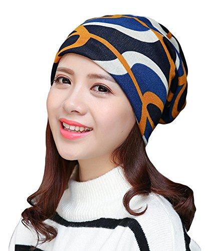 Qiabao Women's Print Chemo Beanie Hat Cap Turban Headcover Head Scarf (Blue)