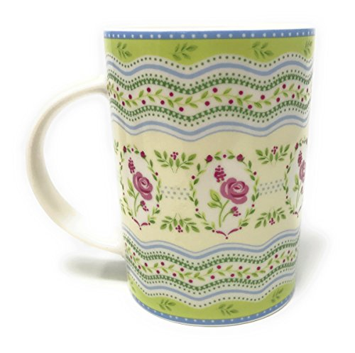 Pink Rose Fine Porcelain - Queen's Pink Roses Fine Porcelain Bone China Mug, 14-Ounce (Green Handle)