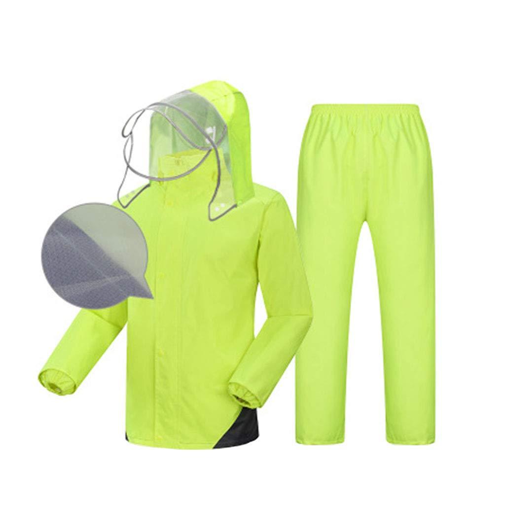 Regenmantel Männer und Frauen Split-Typ (wasserdichtes Top + atmungsaktive Hose) Regenmantel gesetzt Atmungsaktiver Helm Reflektierender Streifen Doppeltes Futter Wasserdichte Regenbekleidung