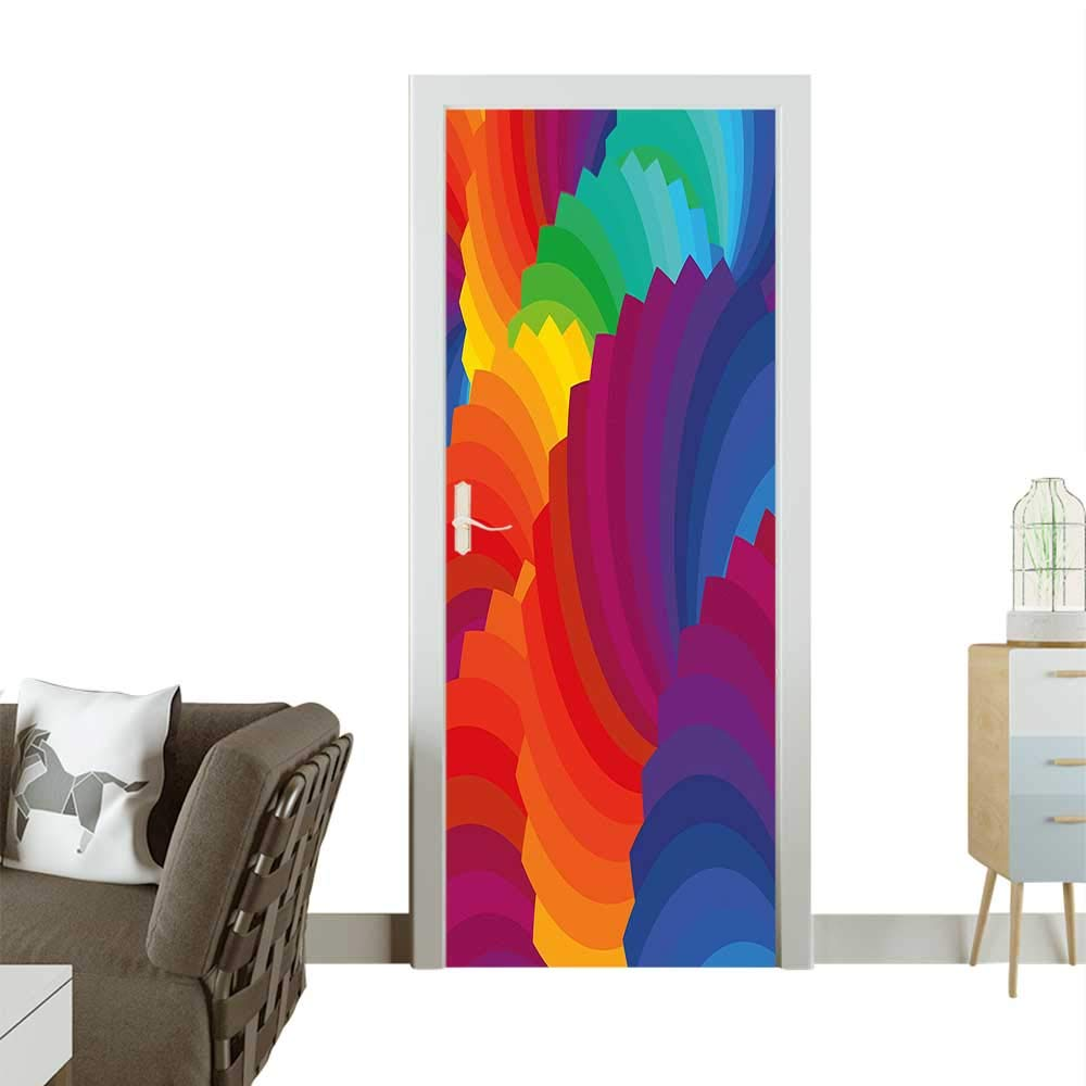 Homesonne 3D Photo Door Murals Gradient Dash Sea Shell Inspired Dimensi Palette Strip isan Easy to Clean and applyW36 x H79 INCH