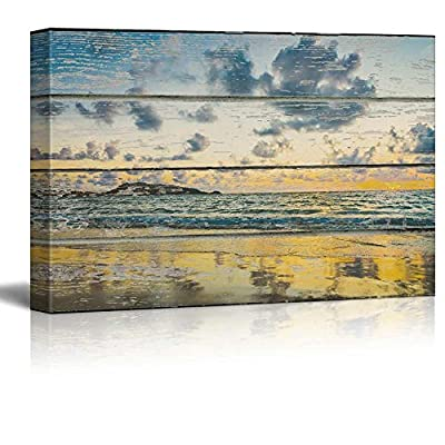 Relaxing Beach Scene on a Rustic Wooden Background, Professional Creation, Majestic Print