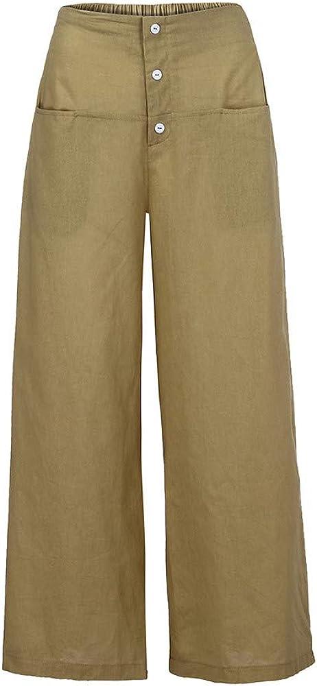 ZEFOTIM Clearance Women Palazzo High Waist Wide Leg Culottes Cotton Linen Trousers Loose Pants