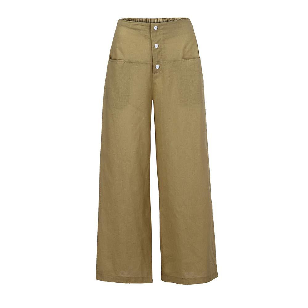 Pervobs Women Palazzo High Waist Wide Leg Culottes Cotton Linen Loose Pants Trousers (3XL, Beige)