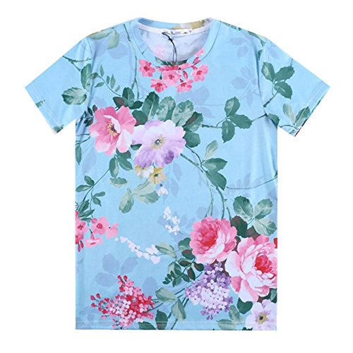 CHIC T-shirt Men Women Peony flower Beautiful 3D Clothing Tops Swag T Shirt (XXL)