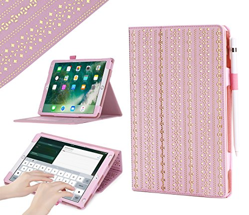 iPad Pro 10.5 Case, WWW [Luxury Laser Flower] Premium PU Leather Case Protective Cover with Auto Wake/Sleep Feature for iPad Pro 10.5 Pink
