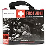 Emergency First Aid Kit - Compact and Lightweight First Aid Bag with 100 Premium Pieces - Ideal for Survival , Traveling , Camping , Hiking , Home , Car and More! Strong Nylon Travel Case Included.