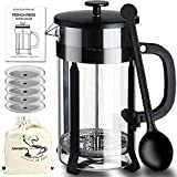 ADAMITA French Press Coffee Maker – French Press 8 cup 34 oz Coffee Press and Tea Press 304 Stainless Steel Heat Resistant Borosilicate Glass Bundle Complete Perfect Gifts for Coffee and Tea Lovers For Sale