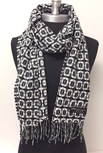 Women's 100% Cashmere Scarf Made In Scotland Plaid Grays | Black | White Soft Shawl New