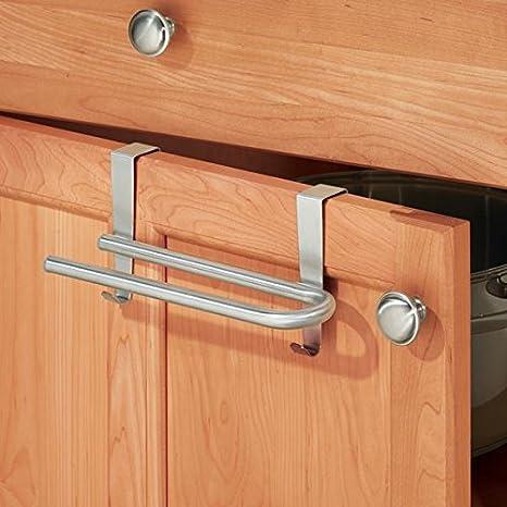 mDesign toallero elegante de acero inoxidable - Para rollos de cocina o toallas - Fácil instalación, toallero sin taladros: Amazon.es: Juguetes y juegos