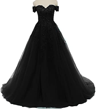 BessDress Off The Shoulder Prom Dresses Lace Elegant Evening Formal Dresses BD406