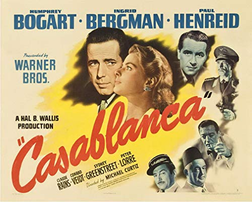 Weytff Casablanca Movie Film 12x16 Inch Metal Wall Sign 12x16 Inches Plaque Vintage Retro Poster Art Picture Print