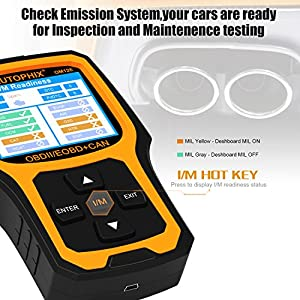 Car Code Reader, Automotive Diagnostic Tool Autophix OM126 OBDII OBD2 Code Scanner Read/Clear Engine Fault Codes Color Screen Scan Tool Black