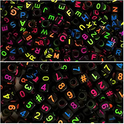 Amaney 750 Pieces 6/×6mm White Cube Acrylic Black Alphabet Letter Beads A-Z and Heart for Jewelry Making Bracelets Necklaces Key Chains and Kids Jewelry Each Letter Included