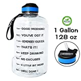 QuiFit Gallon Water Bottle with Time Marker and Straw Wide Mouth Daily Water