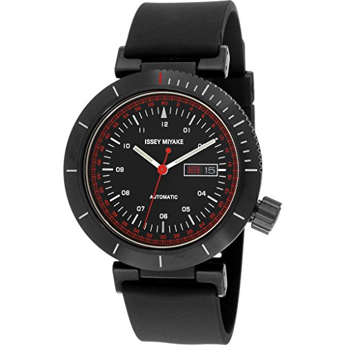 ISSEY MIYAKE Men's 'W' Japanese Automatic Stainless Steel and Polyurethane Casual Watch, Color:Black (Model: NYAE003Y)