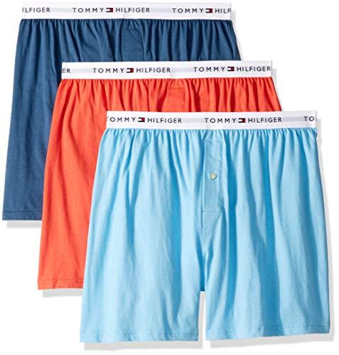 (Tommy Hilfiger Men's Underwear 3 Pack Cotton Classics Knit Boxers, Spiced Coral L)