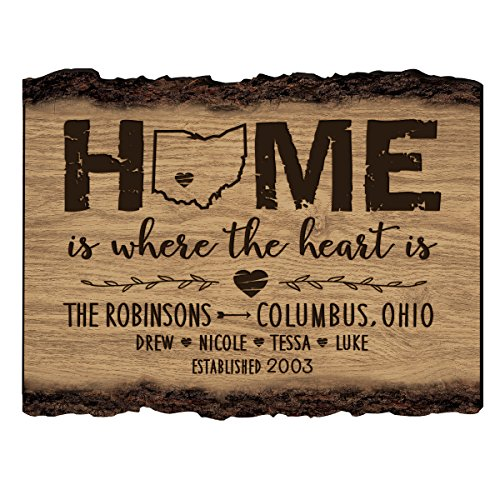 LifeSong Milestones Personalized Bark Wood Sign Home is Where The Heart is Family Established with Last Name, First Names and Date Established 12x9 in.]()