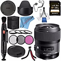 Sigma 35mm f/1.4 DG HSM Art Lens for Canon DSLR Cameras #340101 + Sony 128GB SDXC Card + Lens Pen Cleaner + Fibercloth + Lens Capkeeper + Deluxe Cleaning Kit + Flexible Tripod Bundle