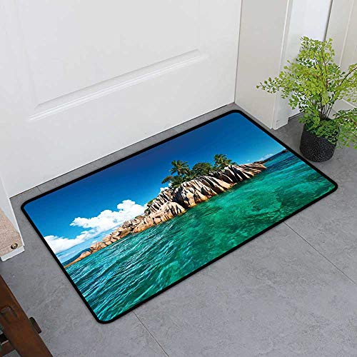 - Custom&blanket All-Natural Rubber Doormats, Island Decorative Imdoor Rugs for Kids Room, St. Pierre Island at Seychelles Natural Granite Relaxation Mediterranean (Jade Green Blue Tan, H16 x W24)