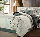 Chic Home Bliss Garden 8 Piece Embroidered Comforter Set, King, Beige