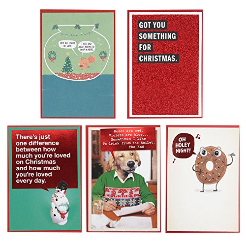 Hallmark Shoebox Funny Christmas Cards Multipack (5 Holiday Cards, 5 Envelopes)