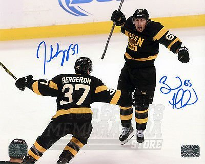 Patrice Bergeron Brad Marchand Boston Bruins Signed Autograph Celebration 16x20 by Your Sports Memorabilia Store