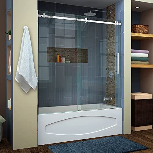 DreamLine Enigma Air 56-60 in. W x 62 in. H Frameless Sliding Tub Door in Polished Stainless Steel, SHDR-64606210-08